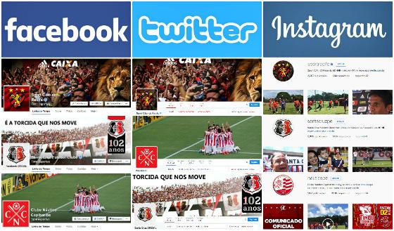 Perfis de Sport, Santa Cruz e Náutico no facebook, no twitter e no instagram