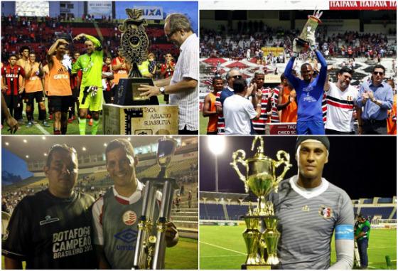 Títulos amistosos de Sport (Ariano Suassua), Santa Cruz (Chico Science e Henágio) e Náutico (Clássico da Paz)