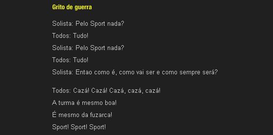 O grito de guerra do Sport, cazá cazá. Fonte: Site oficial do Sport