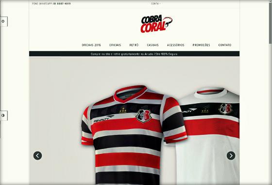 Home do site oficial da Loja Cobra Coral em 18/02/2016