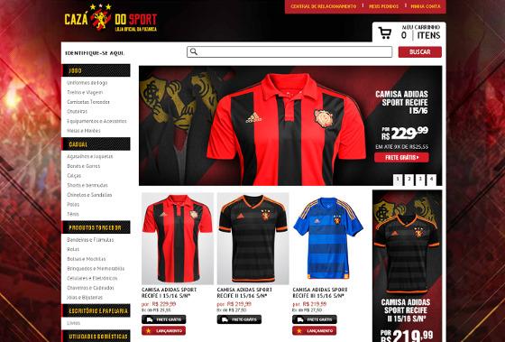 Home do site oficial da loja Cazá do Sport em 18/02/2016