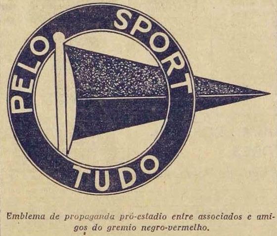 """Registro do lema do Sport em 1936, """"Pelo Sport Tudo"""""""