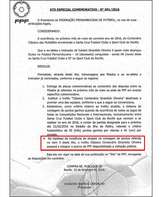 O regulamento oficial do Troféu Givanildo Oliveira. Crédito: FPF
