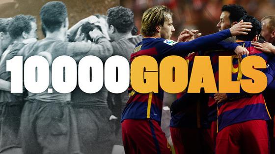 Barcelona chega a 10 mil gols em sua história. Arte: Barcelona/site oficial