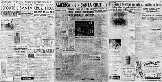 As edições do Diario de Pernambuco com as primeiras citações do Clássico das Multidões (04/07/1943), Clássico dos Clássicos (12/10/1945) e Clássico das Emoções (01/11/1953)