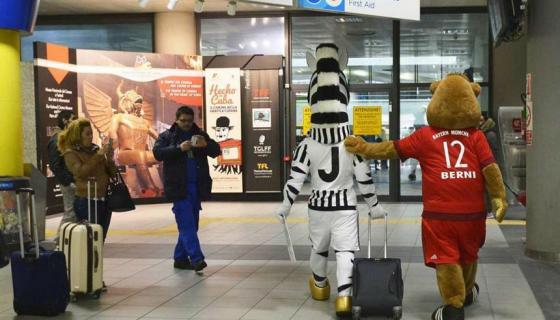Zebra da Juventus e Urso do Bayern juntos em Turim, pela Champions League 2016. Crédio: juventus.com