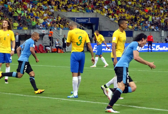 Eliminatórias da Copa 2018, em 25/03/2016: Brasil 2x2 Uruguai (gol de Cavani). Foto: AUF/twitter (@Uruguay)