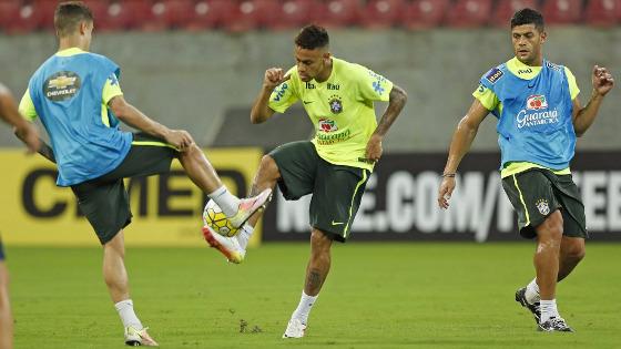 Brasil treinando na Arena Pernambuci antes do jogo contra o Uruguai pelas Eliminatórias da Copa 2018. Crédito: Rafael Ribeiro/CBF