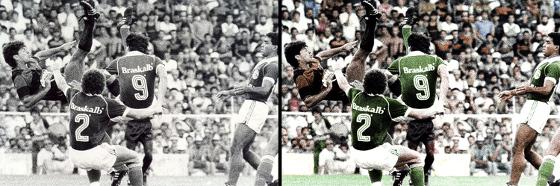 Foto colorizada da final do Brasileirão de 1987, Sport 1 x 0 Guarani. Crédito: arte de Atilla Rodrigues (@AtillaSCR) sobre foto de arquivo do DP