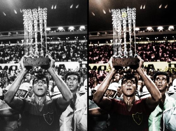 Foto colorizada da final do Brasileirão de 1987, com Estevam levantando a taça para o Sport. Crédito: arte de Atilla Rodrigues (@AtillaSCR) sobre foto de arquivo do DP