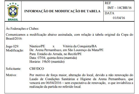 Documento da CBF com a mudança do local para Náutico x Vitória da Conquista, pela Copa do Brasil 2016