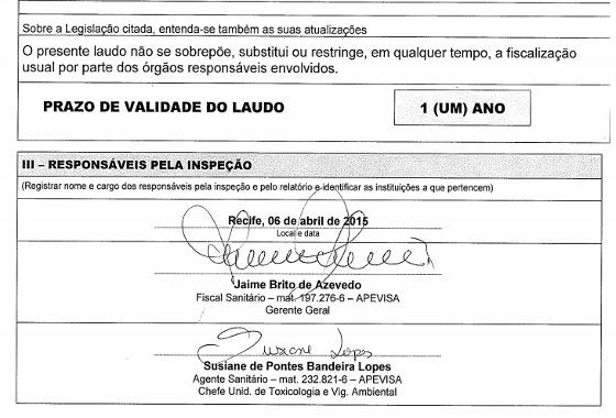 Laudo da Vigilância Sanitária na Arena Pernambuco, até 06/04/2016. Crédito: FPF/reprodução