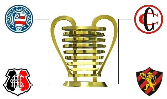 As semifinais da Copa do Nordeste de 2016: Bahia x Santa e Campinense x Sport. Arte: Cassio Zirpoli/DP