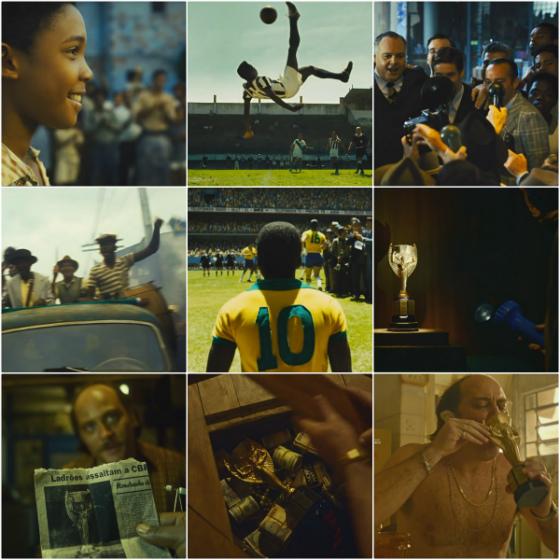 """Filmes sobre o futebol brasileiro em 2016: """"Pelé, o nascimento de uma lenda"""" e """"O roubo da taça"""". Crédito: montagem sobre reprodução dos trailers"""