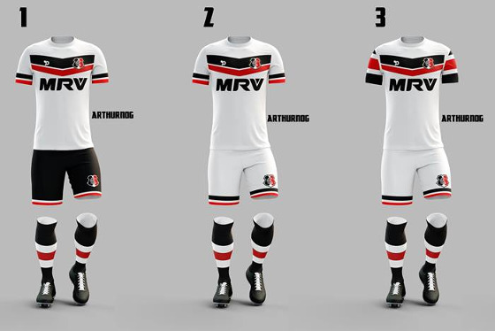 Mockups do futuro uniforme do Santa via Dry World. Arte: Arthur Nog/divulgação