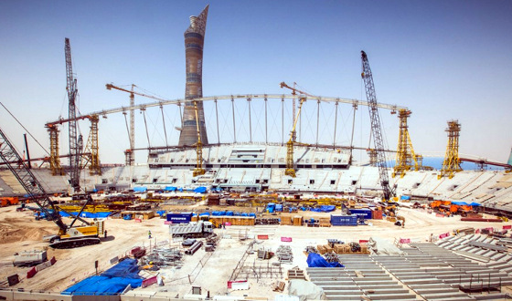 Obra do estádio Khalifa, no Catar, para a Copa de 2022. Foto: Fifa/site oficial