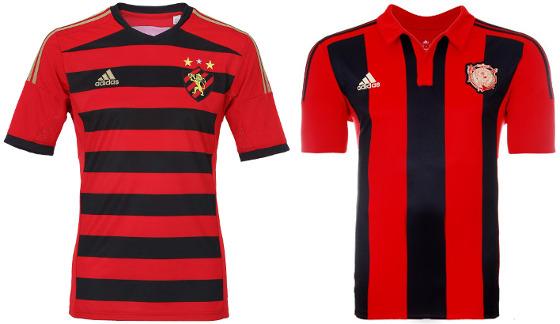 Os uniformes principais do Sport, via Adidas, em 2014 (horizontal) e 2015 (vertical)