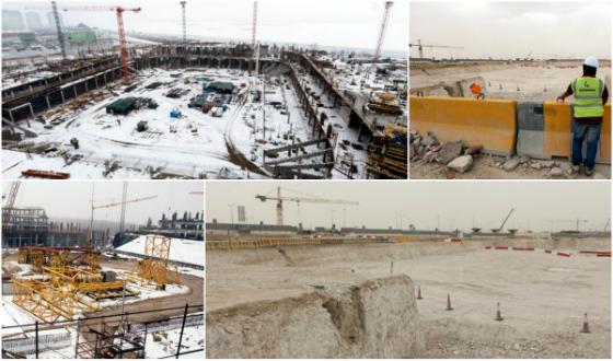 Obras dos estádios na Rússia (Copa 2018) e Catar (Copa 2022). Fotos: Fifa/site oficial