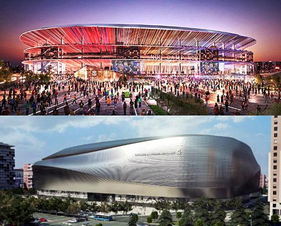 Projetos de ampliação do Camp Nou (Barcelona) e Santiago Bernabéu (Real Madrid). Crédito: Barça e Real/site oficial