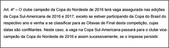 Regulamento da Copa Sul-Americana através do Nordestão de 2016. Crédito: CBF/reprodução