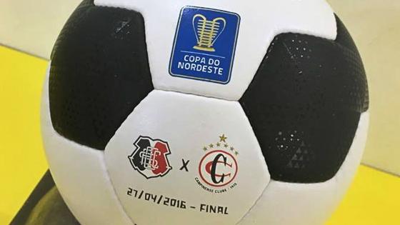 A bola oficial do primeiro jogo da final do Nordestão, entre Santa e Campinense. Crédito: divulgação