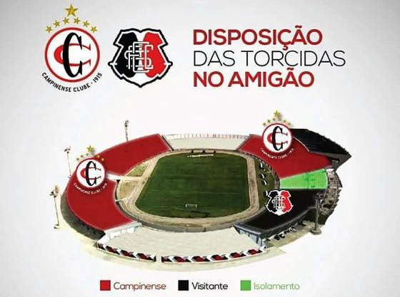 Divisão das torcidas de Campinense e Santa Cruz, na final do Nordestão, no Amigão. Crédito: Campinense/twitter