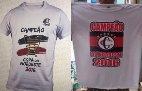 Supostas de camisas do título da Copa do Nordeste de 2016. Crédito: twitter/reprodução