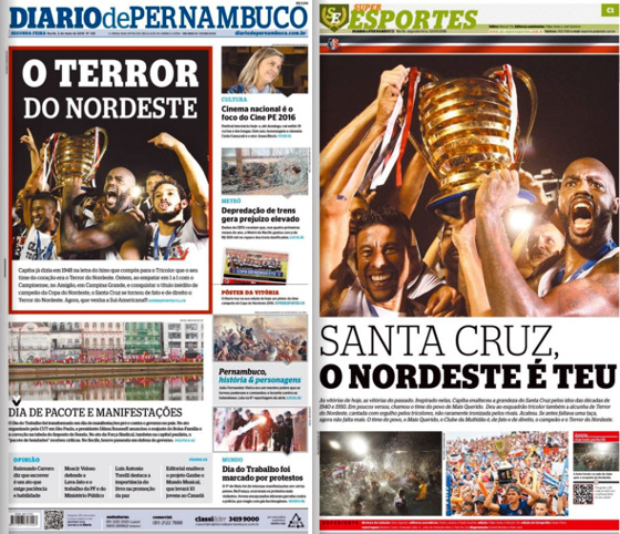 As capas do Diario de Pernambuco e do caderno Superesportes em 2 de maio de 2016, com o título regional do Santa Cruz