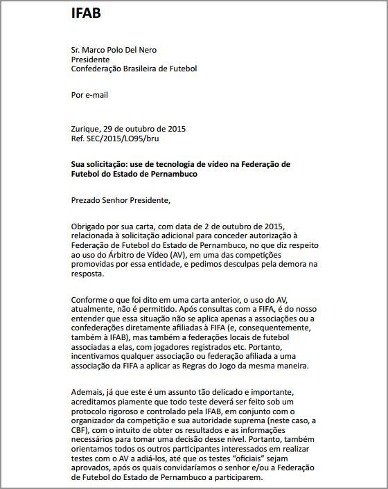 Resposta da Ifab à solicitação da FPF para árbitros de vídeo no Estadual 2016. Crédito: FPF/reprodução