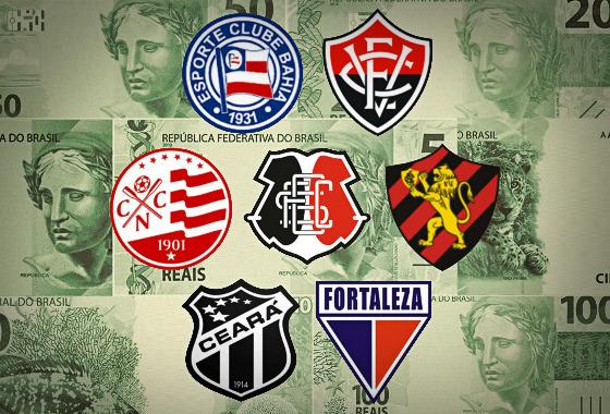 As cotas de participação e premiações do sete principais clubes do Nordeste. Arte: Cassio Zirpoli/DP
