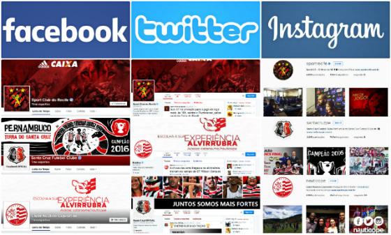 Perfis oficiais de Sport, Santa e Náutico no facebook, twitter e instagram em 10/05/2016