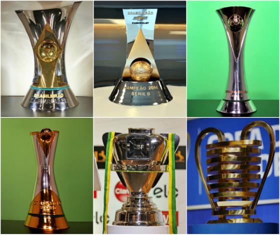 Troféus da Séries A, B, C e D, da Copa do Brasil e do Nordestão