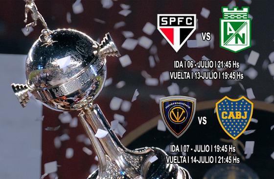 Semifinais da Liebrtadores 2016: São Paulo x Atlético Nacional e Independiente del Valle  x Boca Juniors. Arte: Conmebol/site oficial