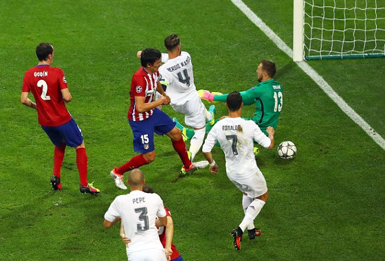 Champions League, final: Real Madrid x Atlético de Madri (gol de Sérgio Ramos). Foto: Champions League/twitter (@ChampionsLeague)