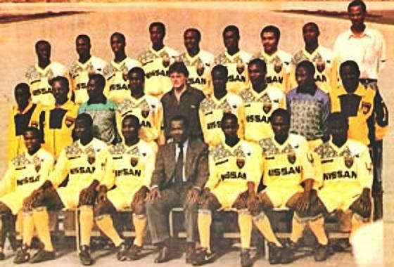 Time do ASEC Abidjan em 1990, durante a histórica sequência invicta de 108 jogos na Costa do Marfim. Foto: Asec/site oficial (www.asec.ci)