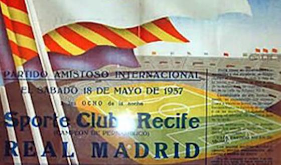 Cartaz do amistoso entre Real Madrid e Sport, em 1957, no Santiago Bernabéu
