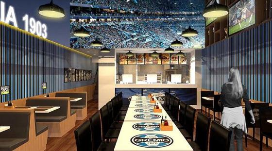 Projeto da rede de fastfood do Grêmio. Crédito: divulgação