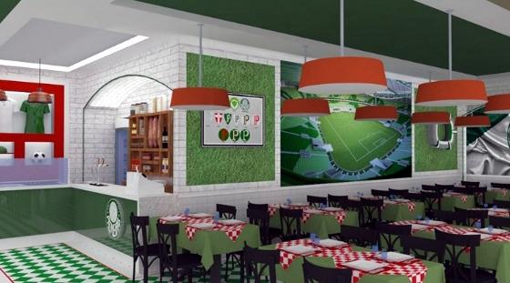 Projeto da rede de fastfood do Palmeiras. Crédito: divulgação
