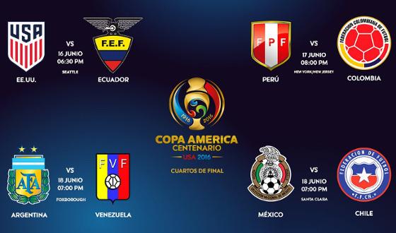 Quartas de final da Copa América de 2016. Crédito: Conmebol/twitter