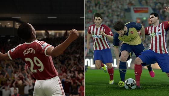 Imagens dos jogos Fifa 2017 e PES 2017. Crédito: reprodução