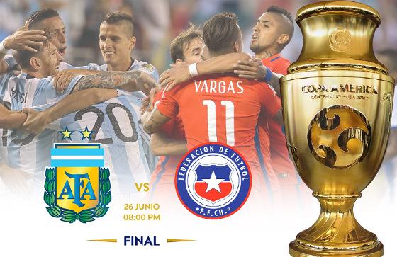 A decisão da Copa América de 2016, Argentina x Chile. Crédito: Conmebol/twitter (@conmebol)