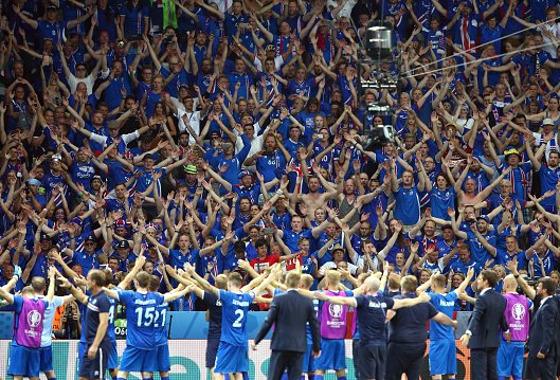 Islândia comemora a classificação às quartas da Euro 2016. Foto: Eurocopa 2016/twitter (@UEFAEURO)