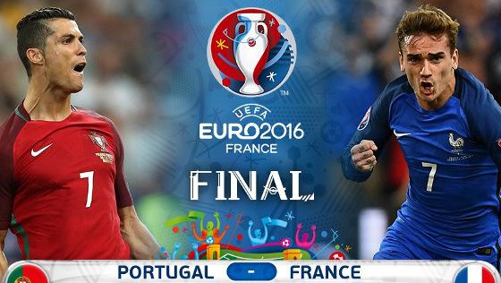 Cristiano Ronaldo (Portugal) x Antoine Griezmann (França) na final da Eurocopa 2016. fotos: @uefaeuro