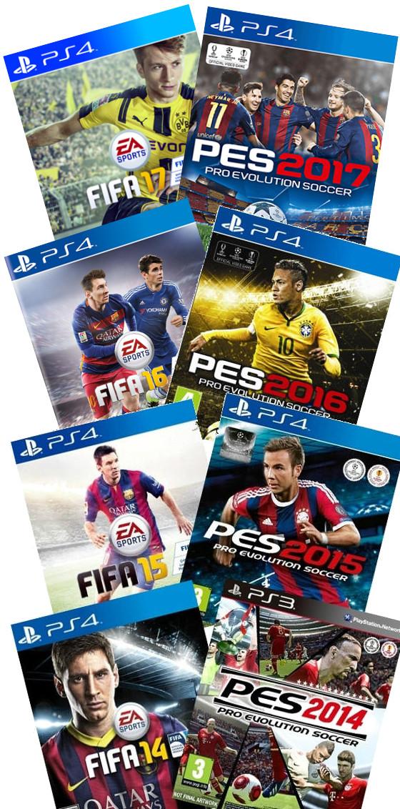 Capas dos games Fifa 17 e Pro Evolution Soccer 2017