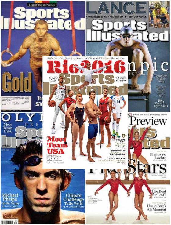 Edições da revista Sports Illustrated sobre a previsão de medalhas olímpicas em 2000, 2004, 2008, 2012 e 2016