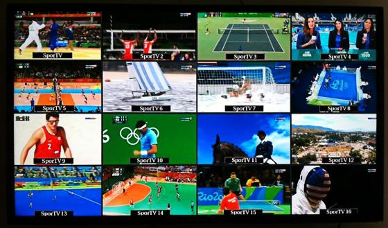 Mosaico de transmissão da Olimpíada 2016. Foto: Cassio Zirpoli/DP