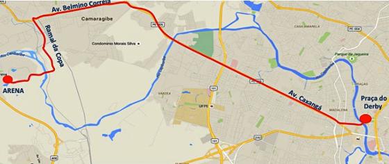O trajeto do Expresso Arena, a partir do Derby. Crédito: governo do estado/google maps