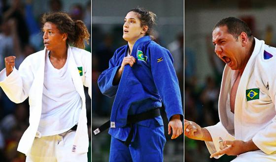 Rafaela Silva, Mayra Aguiar e Rafael Silva em ação nos Jogos Olímpicos de 2016. Fotos: Rio 2016/twitter (@rio2016)