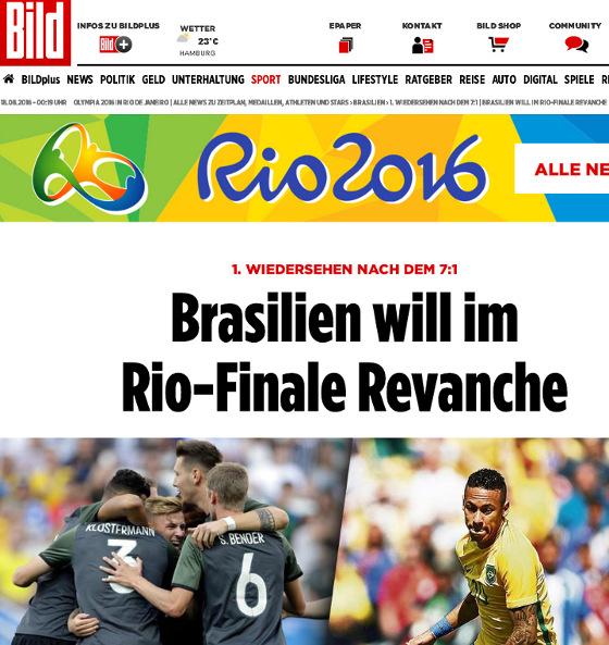 Jornal alemão anunciando a final olímpica de futebol  Brasil x Alemanha c6fa81cda16b2