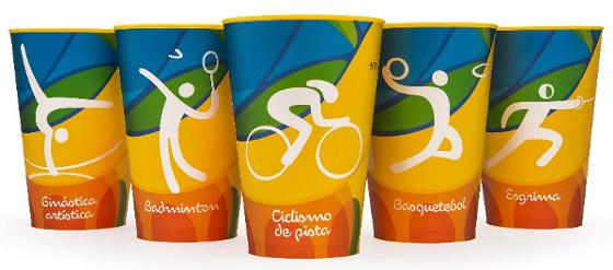 Copos colecionáveis das Olimpíadas de 2016. Crédito: divulgação